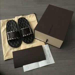 Auth Louis Vuitton Eldorado pool slides sandals 39